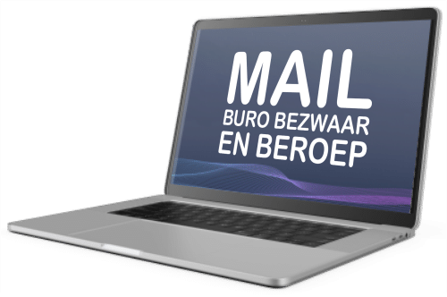 laptop met tekst mail Buro Bezwaar en Beroep #1